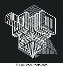 tridimensionnel, résumé, forme., trigonometric, ingénierie, ...