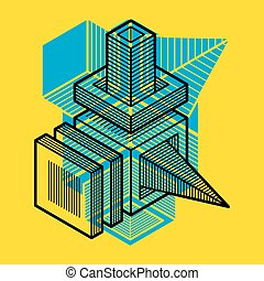 tridimensionnel, résumé, forme., trigonometric, ingénierie, vecteur, construction