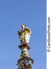 medieval Market cross on central square. Archbishop Henry I equipped the cross in 958 on main town market, in Trier, Germany