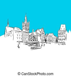 Trier Main Market, hand-drawn vector drawing, blue series