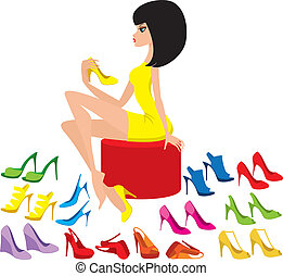 tries, mujer, joven, shoes