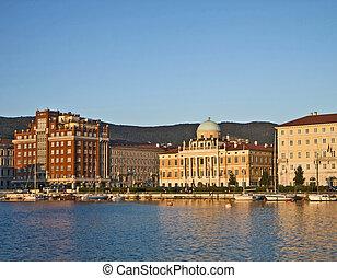trieste, イタリア, 裂きなさい, ∥において∥, 日没, ∥で∥, 新古典主義, carciotti, 宮殿