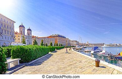 Trieste Italy by Adriatic sea - Trieste promenade and small ...