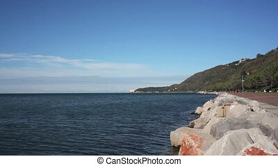 Trieste sea - View of Miramare castle, Barcola in Trieste