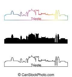 Trieste skyline linear style with rainbow in editable vector...