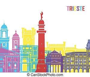 Trieste skyline pop in editable vector file