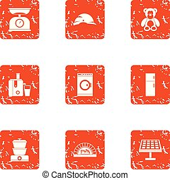 Trifle icons set, grunge style - Trifle icons set. Grunge...