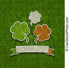 trifogli, irlandese, colorare, st., -, illustrazione, patrick's, bandiera, vettore, fondo, vacanza, giorno