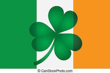 trifoglio, bandiera, irlanda, illustrazione