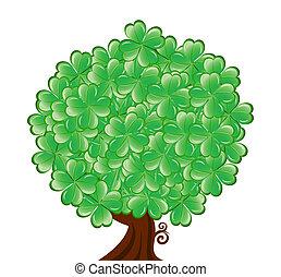 trifoglio, foglia, st., albero, isolato, patrick's, quattro, fondo., illustrationof, vettore, bianco, giorno