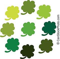 trifoglio, foglie, colorfull, set., icona