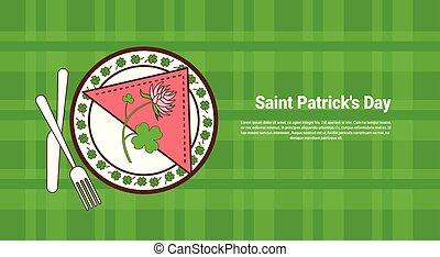 trifoglio, foglie, e, fiore, su, servito, piastra, sopra, santo, patricks, giorno, bandiera, con, verde, controllato, sagoma, fondo