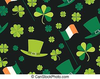 trifoglio, irlandese, card., augurio, modello, hat., tipografia, illustrazione, seamless, bandiera, vettore, verde, giorno, gnomo, foglie, bandiera, patrick's, design.