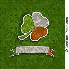 trifoglio, irlandese, vendemmia, st., -, bandiera, illustrazione, patrick's, colori, vettore, fondo, vacanza, giorno, nastro