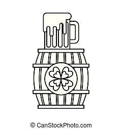 trifoglio, legno, vetro, birra, bevanda, barile