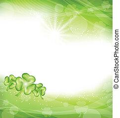 trifoglio, patrick, st., sfondo verde, giorno