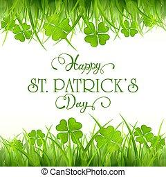 trifoglio, patricks, sfondo verde, erba, giorno