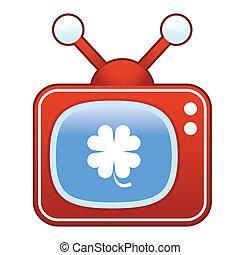 trifoglio, televisione, retro, icona