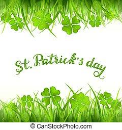 trifoglio, testo, patricks st, verde, quattro-foglia, erba, giorno, felice