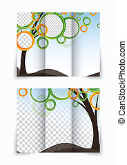 Trifold brochure - Abstract tree with circles design for...