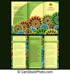 Trifold brochure with floral elements