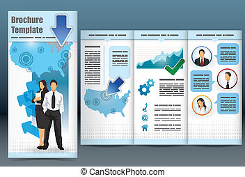 Trifold business brochure template with location map,...