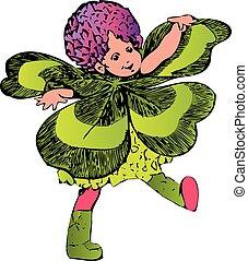trifolium, flower-child, o, trébol cuatro leafed