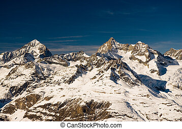 trifthorn and dent blanche panorama, view from gornergrat,...
