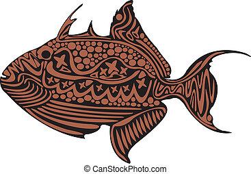 A colourful trigger fish.