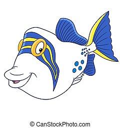 triggerfish, visje, spotprent