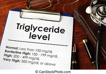 Triglyceride level chart on a table. Medical concept.