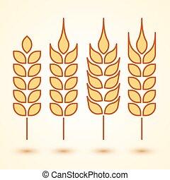 trigo, ícones, jogo