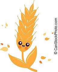 trigo, character., ilustración, vector, cebada, o