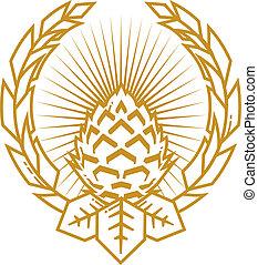 trigo, clavo, emblema, salto