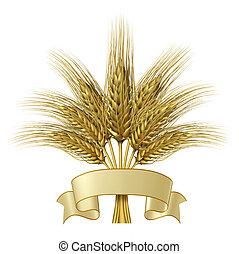 trigo, diseño, con, un, blanco, bandera de la cinta