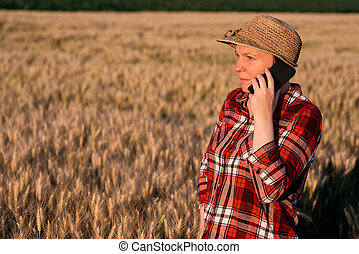 trigo, falando, telefone móvel, campo, femininas, agricultor