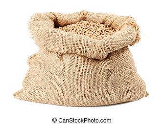 trigo, granos, aislado, saco, bolsa, plano de fondo, blanco
