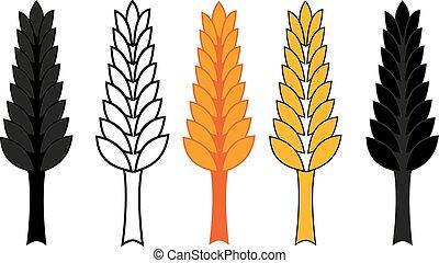 trigo, ilustração, jogo, vetorial, cevada, orelha, ícone