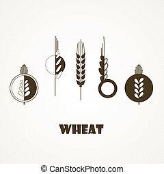 trigo, orelha, ícone, jogo