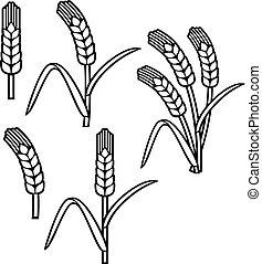 trigo, orelha, linha magra, ícone, jogo