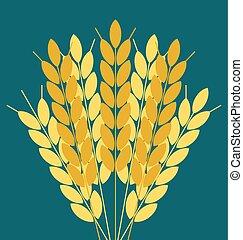 trigo, orelhas, símbolo., colheita, elemento, embalagem, cerveja, desenho, label., icon., arroz, agricultural., ou, pão