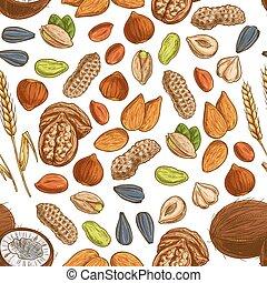 trigo, padrão, feijão, seamless, noz, semente
