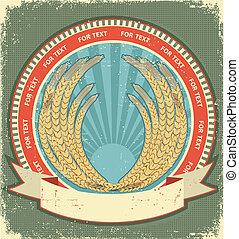 trigo, texto, símbolo, textura, papel, label.vintage, fundo, antigas