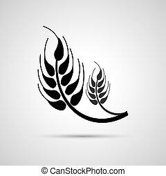 trigo, ve, fazenda, conceito, agricultura, desenho, orelhas