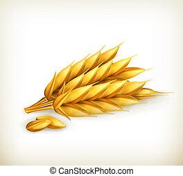 trigo, vetorial, ícone