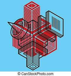 trigonometric, vecteur, ingénierie, forme., tridimensionnel...