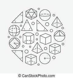 Trigonometry and geometry illustration - vector round...