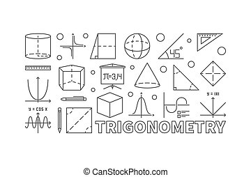 Trigonometry and math minimal illustration or banner in line...