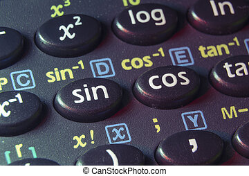 trigonometry functions push buttons of scientific calculator; focus on sin button
