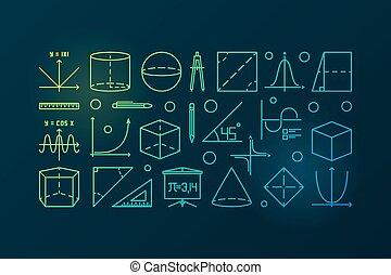 Trigonometry colorful line illustration or banner -...